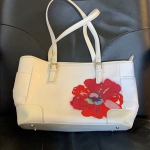 Coach purse. White with red flower. Leather.